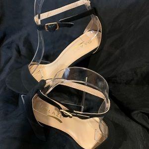 GLAZE Black Suede Strap Heel